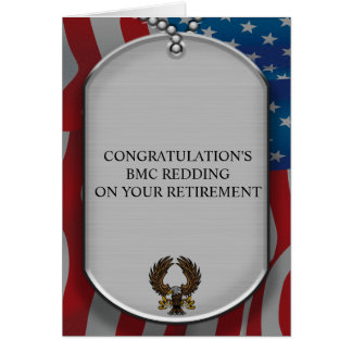 Military dog tags and American flag Card