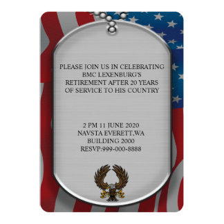 Military dog tags military style retirement card