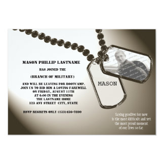 """Military Dogtags Going Away Party 5"""" X 7"""" Invitation Card"""