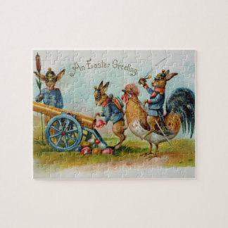 Military Easter Bunnies Antique Post Card Puzzle