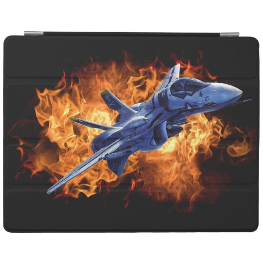 Military fighter jet flying out through fire iPad cover