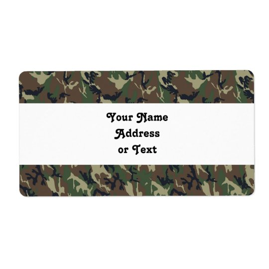 Military Forest Camouflage Background Shipping Label