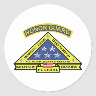 MILITARY FUNERAL HONOR GUARD CLASSIC ROUND STICKER