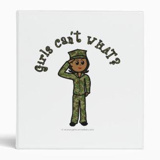 Military Girl - Dark 3 Ring Binders