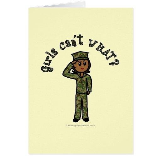 Military Girl - Dark Greeting Cards