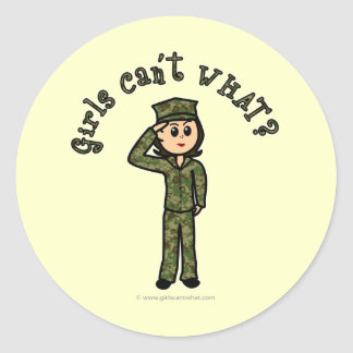 Military Girl - Light Round Sticker