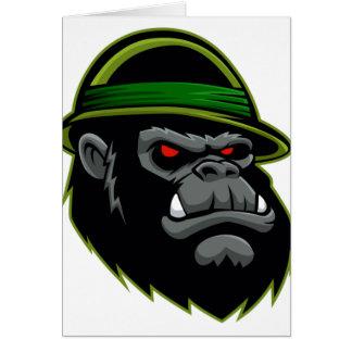 Military Gorilla Head Greeting Card