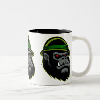 Military Gorilla Head Two-Tone Coffee Mug