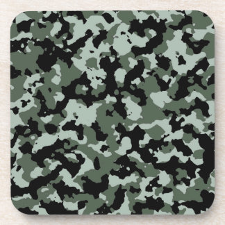 Military Green Camouflage Pattern Drink Coasters