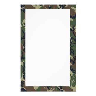 Military Green Camouflage Pattern Stationery Design