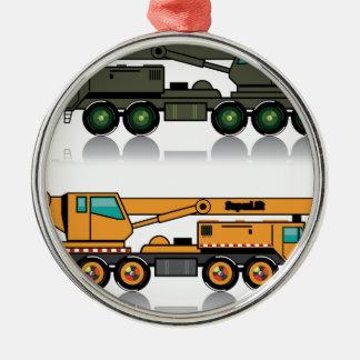 Military heavy crane truck Silver-Colored round ornament