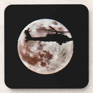 Military Helicopter Against Full Moon Drink Coasters