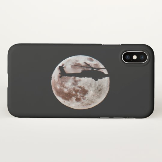 Military Helicopter Against the Moon at Night iPhone X Case