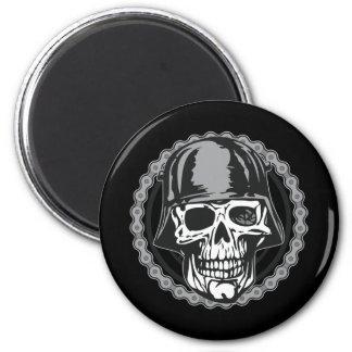 Military Helmet Skull With Biker Chain Magnet