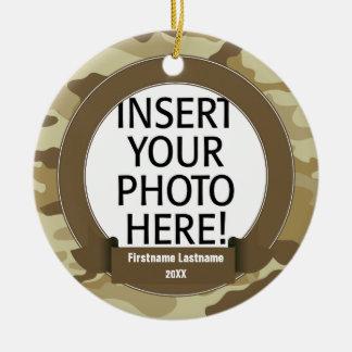 Military Hero - Camo SINGLE-SIDED Round Ceramic Ornament