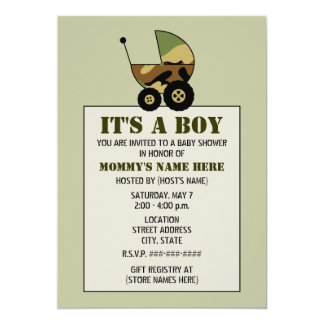 Military Inspired Camoflauge Baby Stroller Shower Card