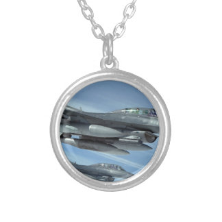military jet silver plated necklace