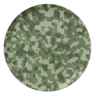 Military Jungle Green Camouflage Plate
