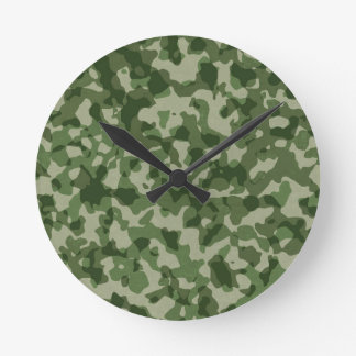 Military Jungle Green Camouflage Round Clock