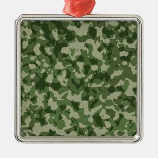 Military Jungle Green Camouflage Silver-Colored Square Ornament