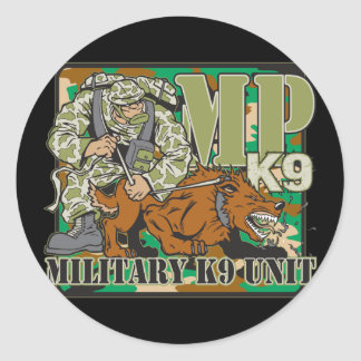 Military K9 Unit Classic Round Sticker