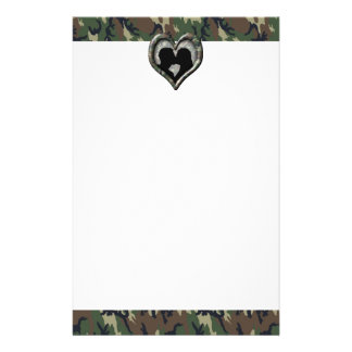 Military Kissing Couple Silhouette Camo Heart Stationery