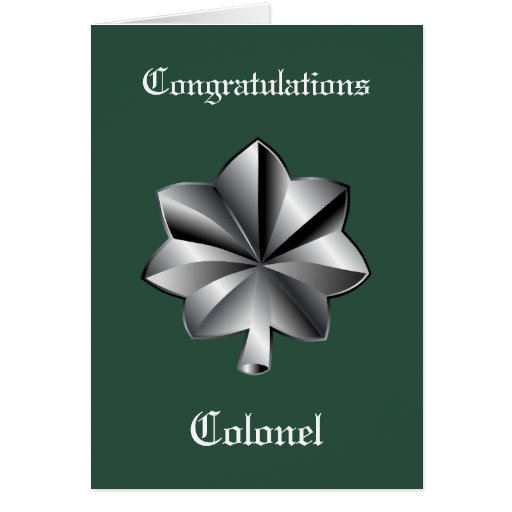Military Lieutenant Colonel Promotion Card