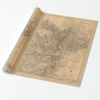 Military Map N.E. Virginia with Forts & Roads 1865 Wrapping Paper