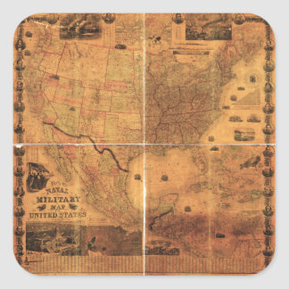 Military Map United States by J Smith (1864) Square Sticker