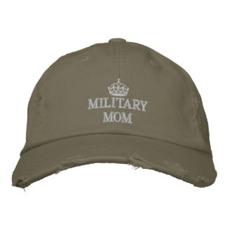 Military Mom with crown logo Embroidered Hats