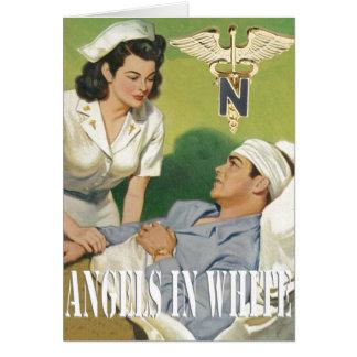Military Nurses - Angels In White Blank Card