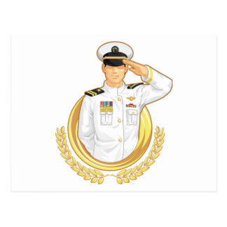Military Officer in Salute Gesture Postcard