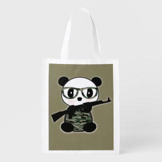 Military Panda Bear Grocery FoldUp Tote Bag