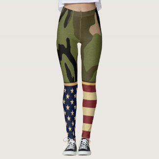 Military Patriotic American Flag Camo Leggings