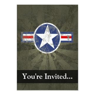"Military Patriotic Vintage Star 5"" X 7"" Invitation Card"