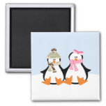 Military Penguin Couple Square Magnet