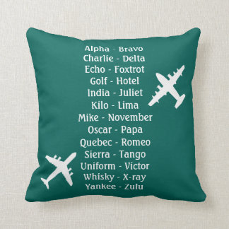 Military Pilot Airplane Alphabet Flying Lesson Throw Pillow