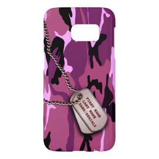 Military Pink Camo w/ Dog Tag Samsung Galaxy S7 Case