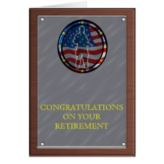 Military plaque style Retirement Greeting Cards