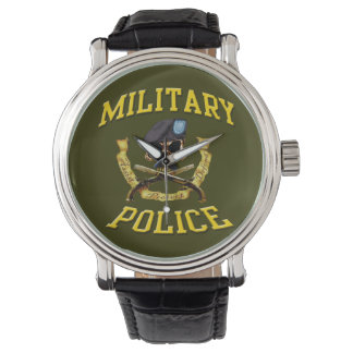 Military Police Skull w Crossed Pistols Wristwatch