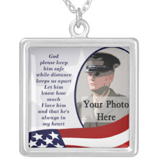 Military Prayer Photo Silver Plated Necklace