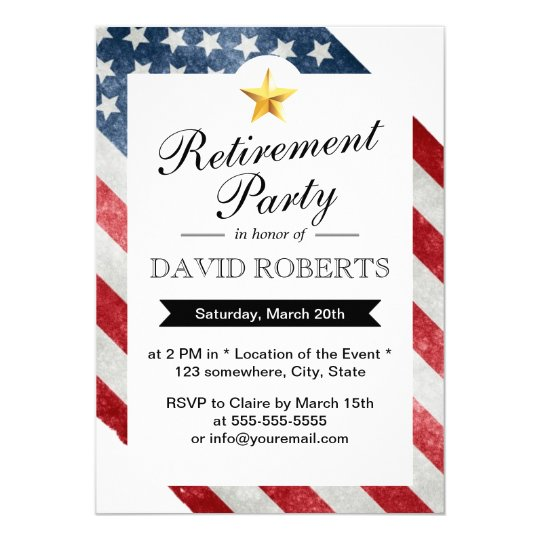 Military Retirement Gold Star & American Flag Card