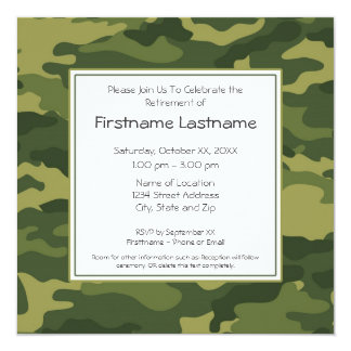 "Military Retirement Party 5.25"" Square Invitation Card"