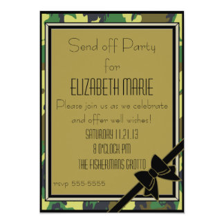 """Military Send Off Party 5"""" X 7"""" Invitation Card"""