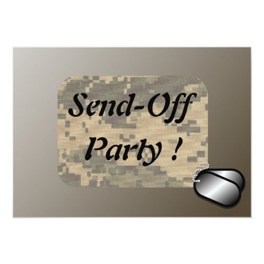 """Military Send Off Party Revised Custom 5"""" X 7"""" Invitation Card"""