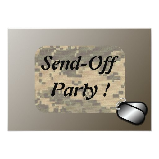 """Military Send Off Party Revised 5"""" X 7"""" Invitation Card"""