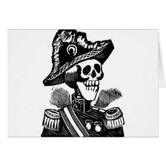 Military Skeleton c. early 1900s Mexico Greeting Card