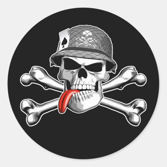 Military Skull and Crossbones Classic Round Sticker