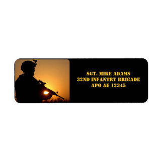 Military Soldier With Rifle At Sunset