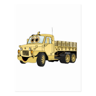 Military Stake Truck Cartoon Sand Postcard